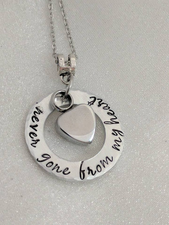 Never Gone From My Heart - Memorial Necklace - Ash Jewelry - Urn Necklace - Heart Urn Jewelry - Remembrance Keepsake - Sympathy Gift - Loss