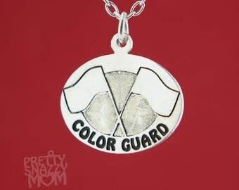 Color Guard Enamel Charm Pendant w/ Optional Necklace Handmade Original Design 925 Sterling Silver
