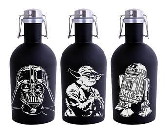 """Star Wars Growler 64oz Black Stainless Steel - Beer Growler with Star Wars Engraving -  """"Star Wars Gift"""" - Star Wars Fan Gifts"""