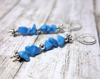 Long blue light blue earrings Pearl Earrings splitter Pearl coral optics light blue blue