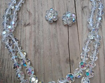 Vintage faceted glass two strand necklace with earrings