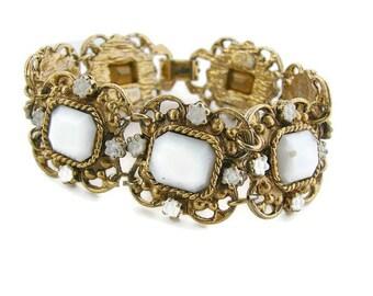 Vintage gold bracelet Gold bracelet Etruscan style White enamel bracelet Antique gold Milk glass bracelet Gold ornate bracelet