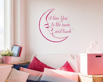 I love You To The Moon And Back Wall Decals Quote Moon Decal Kids Nursery Vinyl Stickers Home Bedroom Decor aa146