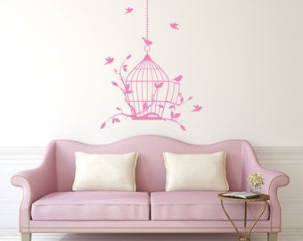 Wall Decal Birdcage Love Birds on Branch Tree Decal Bird cage Vinyl Sticker Art Home Decor Mural Bedroom Dorm Nursery Decor V1056