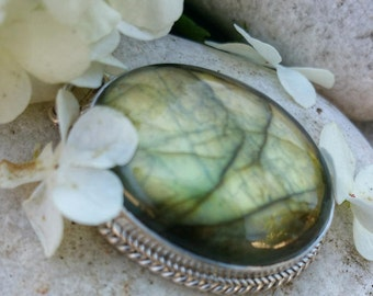 Sterling Silver solid (not hollow back), genuine labradorite