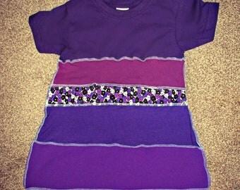 age 1-3 childrens tunic top dress upcycled purple handmade hippie pixie faery boho patchwork