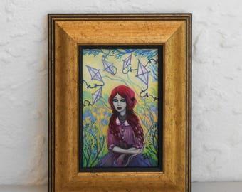 Oil Painting Pop Surreal Whimsical Art Original Painting Kite Kites Painting