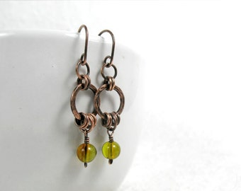 Genuine Green Amber Hoop Earrings, Hammered, Chakra Balancing Stone, Boho, Rustic, Oxidized Copper, Sterling Silver, Gold