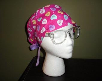 Valentine's Day Conversation Hearts Surgical Scrub Hat