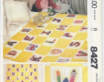 80s McCall's Crafts 8427 Yellow Transfer for Embroidered Alphabet for Baby Quilt Sewing Pattern UNCUT