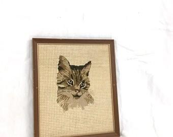 Framed Cat Needlepoint