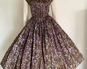 FOR RESCUE / CLEARANCE 50s Olive Green Purple Floral Party Dress / Full Skirt / Small Medium