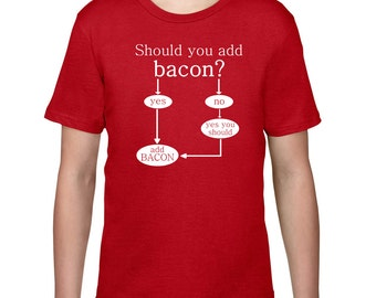 Kids Clothing, Kids Shirt, Funny T Shirt, Should You Add Bacon Tshirt, Tee, Bacon T Shirt, Youth, Childrens Clothes, Ringspun Cotton