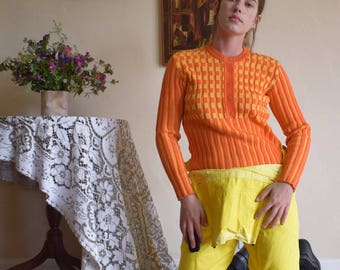 70's Austrian Yellow and Orange Ribbed Sweater