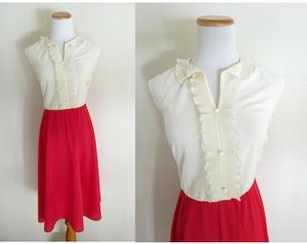 SALE Ruffle Dress Red & White Ruffled 70s Dolly Secretary Midi Size Large 1970s Sleeveless
