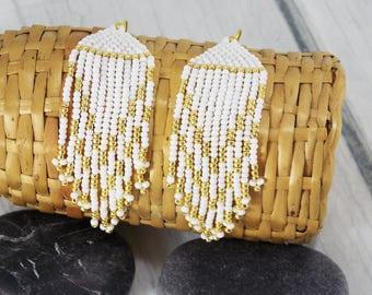 Gift/for/girlfriend gifts Golden bridesmaid earrings white gold earrings beadwork earrings party earrings wedding earrings modern earrings