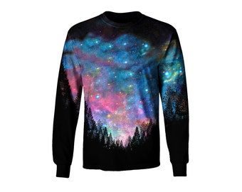 Space Artwork Long Sleeve T Shirt - All Over Print Galaxy Art - Trippy Festival Clothes