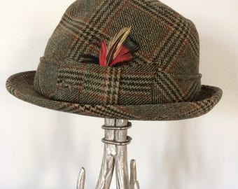 Vintage Wool Plaid Tweed Fedora, True Vintage Men's Fedora, Quality Men's Hat, Champ Triumph