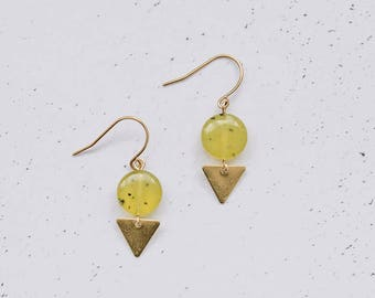 Spotted Jade Brass Boho Earrings