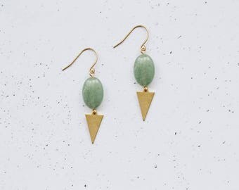 Green Aventurine Brass Boho Earrings