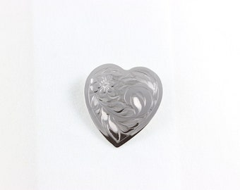 Sterling Silver Heart Pin Brooch