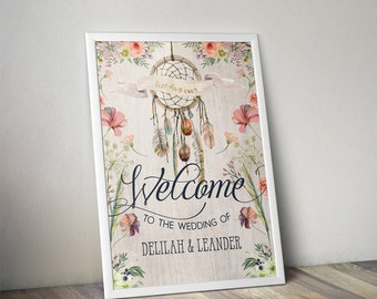 Boho Dreamcatcher Wedding Welcome Sign - Rustic Floral Sign - DIY - Digital File - PDF - Instant Download