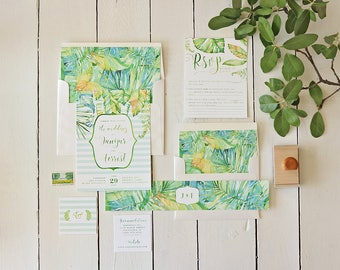 Tropical Wedding Invitation Set for a Beach Wedding, Green Palm Leaves Wedding Invite, Watercolor Green Wedding Suite - Printable or Printed