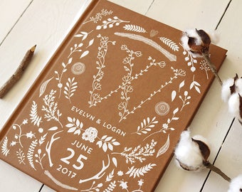 Rustic Kraft Wedding Guest Book • Monogram Woodland Wedding Guestbook • Custom Personalized Guestbook • Blank • 8 x 10