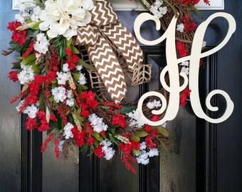 Large Grapevine Wreath Hydrangeas Personalized Monogram Initial Burlap Ribbon Spring Summer Mothers Day Wedding Year Round Door Decor