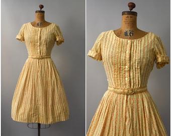 1950's floral orange cotton shirtdress • small