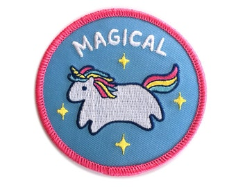 Baby Unicorn Iron-on Patch - 3-inch Embroidered Magical Circle Illustration by Sparkle Collective