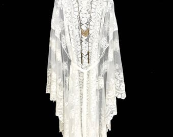 Lace kaftan kimono robe, lace kimono, lace beach cover up, brides kimono robe, wedding lace robe, ivory white lace kaftan.