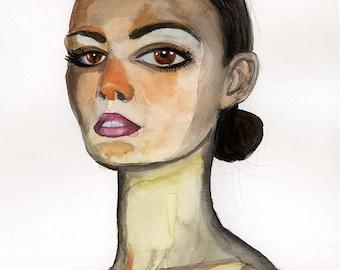 Those eyes! Watercolor Woman Portrait, 8x10 Giclee PRINT, Wall Art