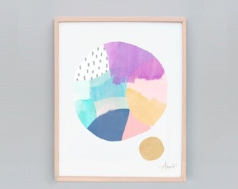 "8x10"" Abstract Print, Small Abstract Art, Modern Art Painting, Australian Art, Purple Art Print, Wall art, Small Wall Art, Purple, Blue"