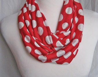 Red and White Polka Dot Infinity Scarf - MEDIUM LENGTH Adult Teen Youth Valentine Scarf