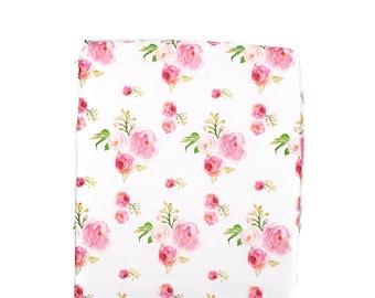 Roses Crib Sheet, Floral Crib Sheet, Minky Crib Sheet, Baby Bedding, Fitted Crib Sheet, Roses Baby Bedding, Baby Girl Crib Sheet