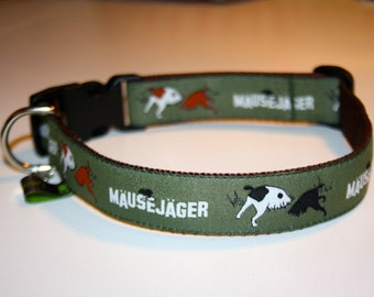 "Puppy collar / dog collar ""Mouse Hunter"" olive green adjustable"