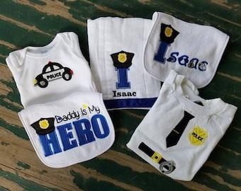 Baby Gift Set , Personalized Police Font , Patrol Car , My Daddy is My Hero , Police Uniform , Bib , Onesie , Burp Cloth