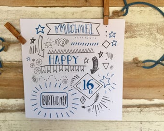 16th Birthday Card Boys - Personalised any age or name