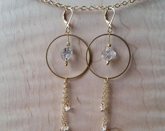 Herkimer diamond and brass statement earrings with chain fringe double terminated quartz crystal