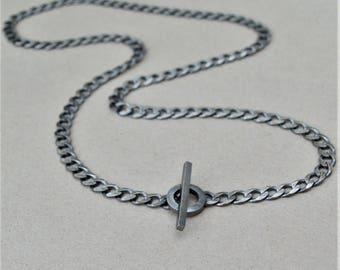 Men's silver curb chain - Oxidised silver chain - Men's oxidised silver necklace - Men's jewellery - Men's necklace - Unique T-bar design