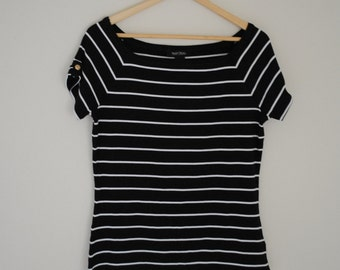 White and Black Striped Shirt with Gold Button on Sleeves - Size Medium