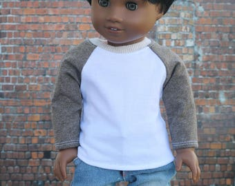 American Boy Doll Clothes - White with Heather Brown BOY Long Sleeve Raglan BASEBALL TEE for 18 Inch Doll
