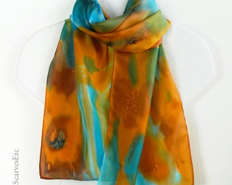 Multicolor scarf, orange teal silk scarf, Hand painted silk, Abstract floral scarf teal orange, Artist silk watercolor scarf, Gift for her