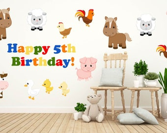 Kids Birthday Party Decorations, Farm Theme Kids Party Decor, Kids Party Wall  Decals,