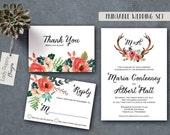 Printable Wedding Invitation//Maria - Rustic Floral Antlers, Watercolor, Bohemian, Romantic flowers, template / DIY files