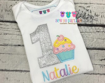 1st Birthday pastel Girl Outfit - Baby Girl Cupcake Birthday Outfit - Cupcake Birthday Shirt- 1st Birthday Outfit