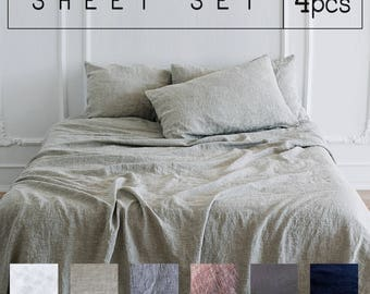 Linen SHEETS SET 4pcs 100% Organic Flax SLIP pillow covers - Queen linen sheets, King linen bed sheet, Twin bedding sheets Eco Organic