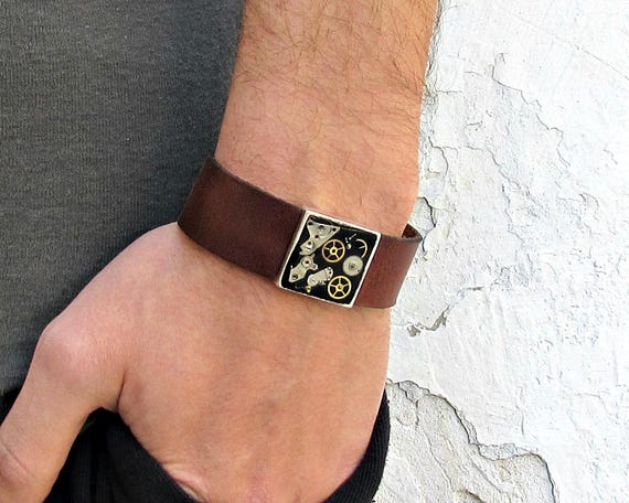 Steampunk Mens Leather Bracelet Cuff Unisex Bracelet Customized To Your Wrist