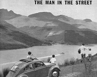 VW Beetle Car Print 1960, Advertising Wall Art